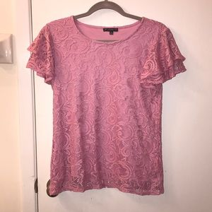 Adrianna Papell Lace Bell shortsleeve Top